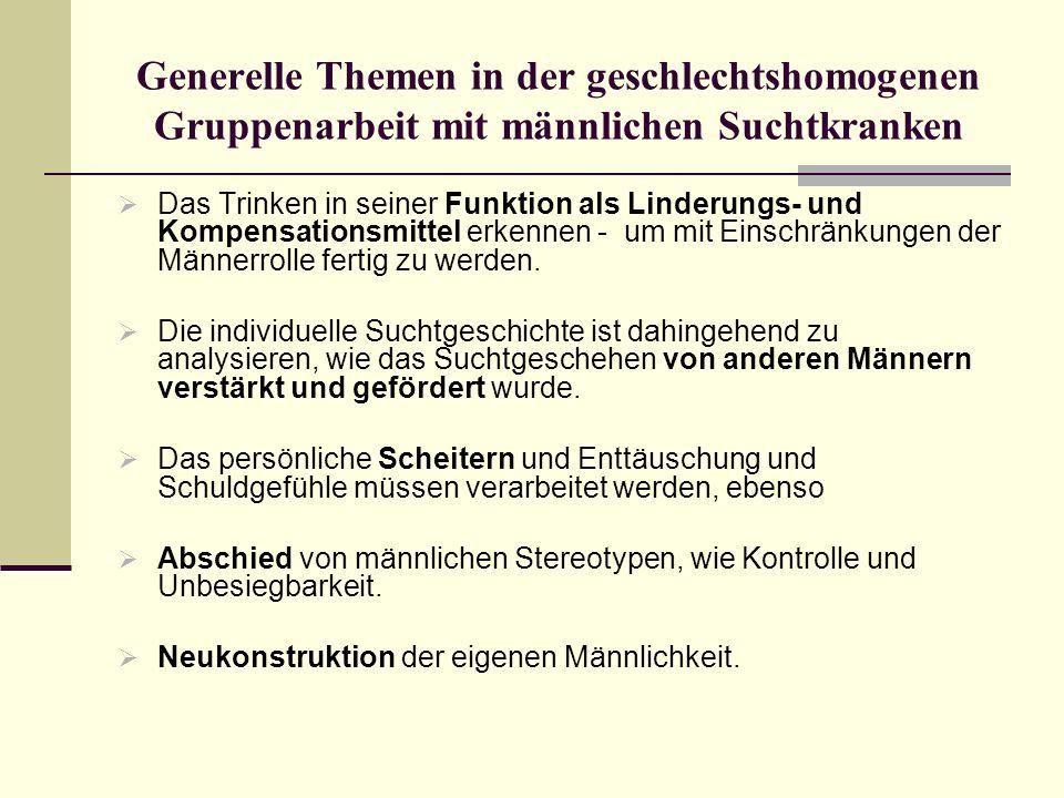 Generelle Themen in der geschlechtshomogenen Gruppenarbeit mit männlichen Suchtkranken Das Trinken in seiner Funktion als Linderungs- und Kompensation