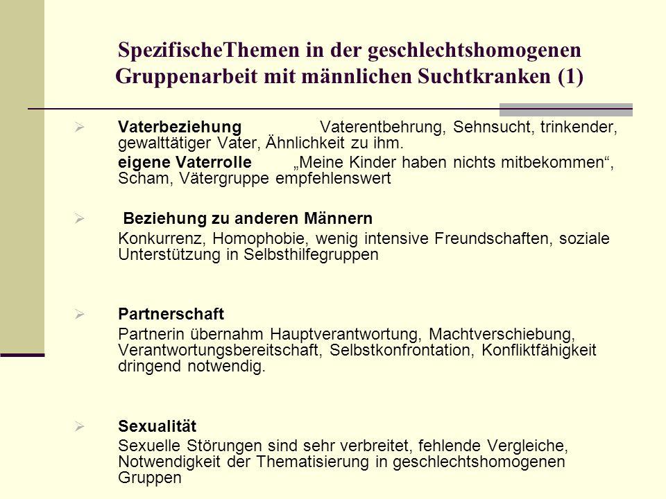 SpezifischeThemen in der geschlechtshomogenen Gruppenarbeit mit männlichen Suchtkranken (1) Vaterbeziehung Vaterentbehrung, Sehnsucht, trinkender, gew