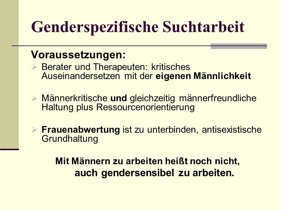 Genderspezifische Suchtarbeit Voraussetzungen: Berater und Therapeuten: kritisches Auseinandersetzen mit der eigenen Männlichkeit Männerkritische und
