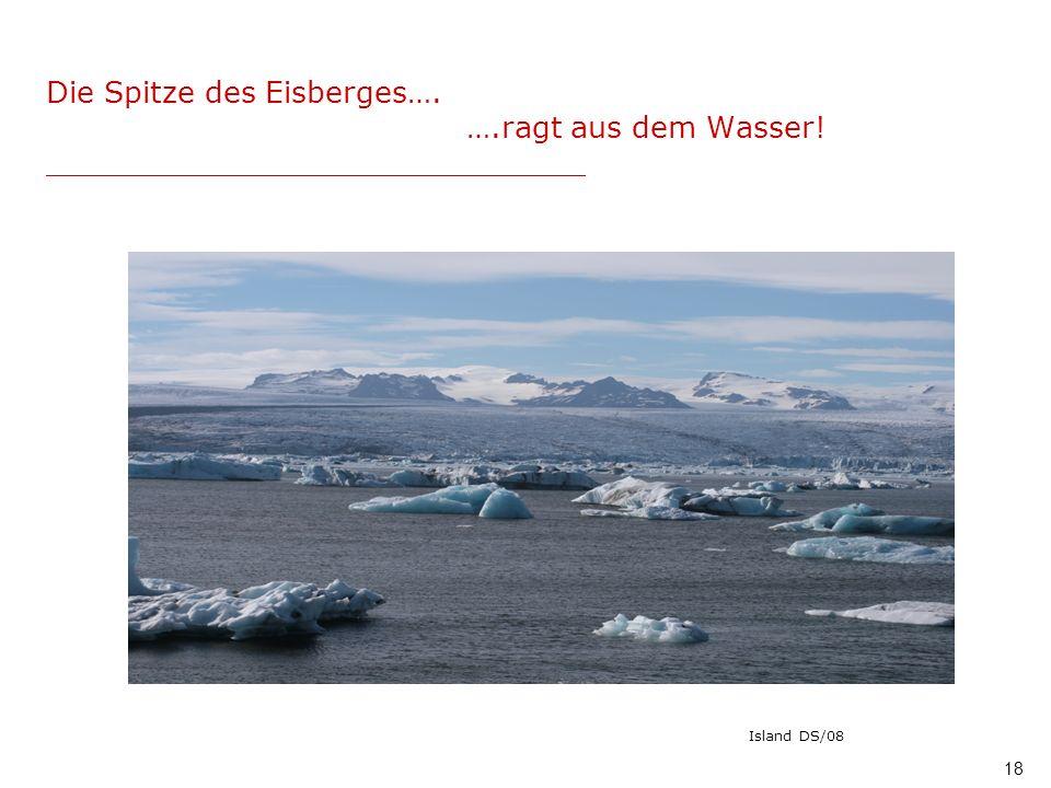 18 Die Spitze des Eisberges…. ….ragt aus dem Wasser! _____________________________ Island DS/08