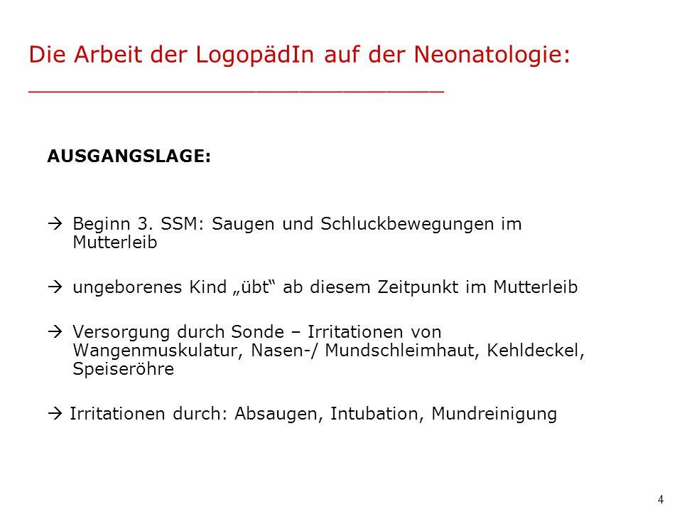 4 Die Arbeit der LogopädIn auf der Neonatologie: _____________________________ AUSGANGSLAGE: Beginn 3. SSM: Saugen und Schluckbewegungen im Mutterleib