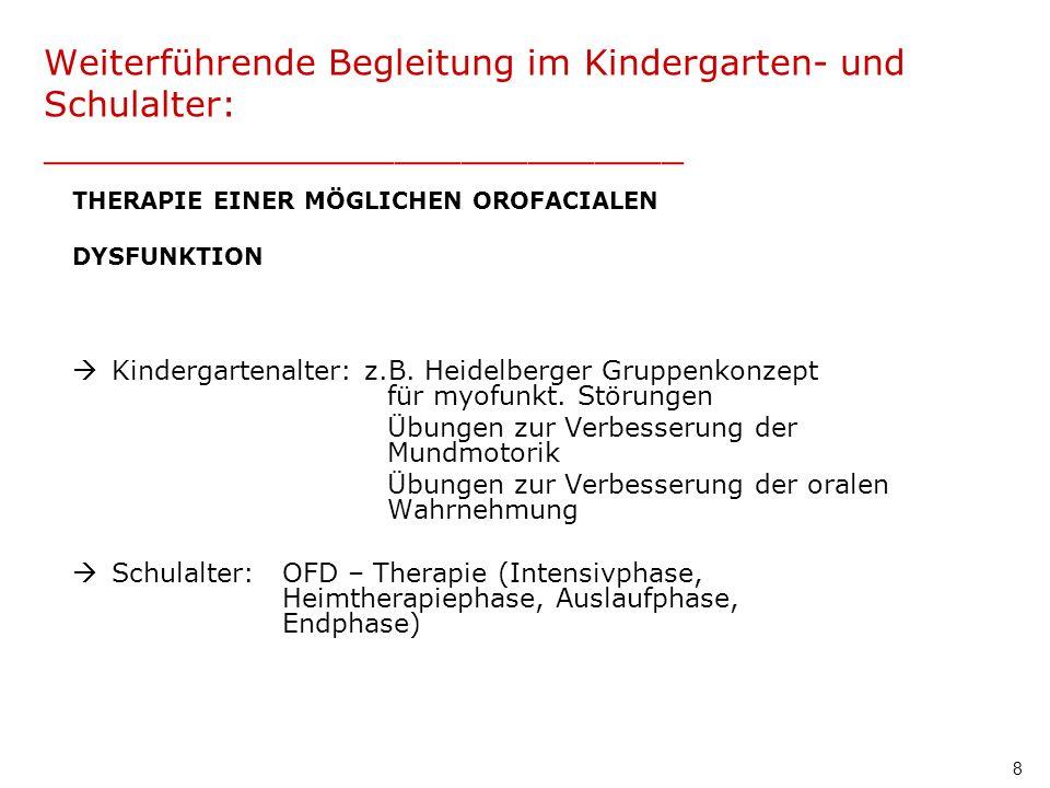 8 Weiterführende Begleitung im Kindergarten- und Schulalter: _____________________________ THERAPIE EINER MÖGLICHEN OROFACIALEN DYSFUNKTION Kindergart