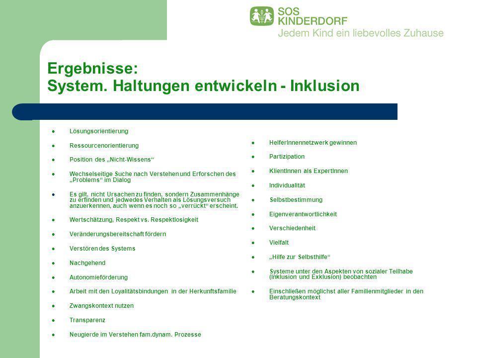 Ergebnisse: System. Haltungen entwickeln - Inklusion Lösungsorientierung Ressourcenorientierung Position des Nicht-Wissens Wechselseitige Suche nach V