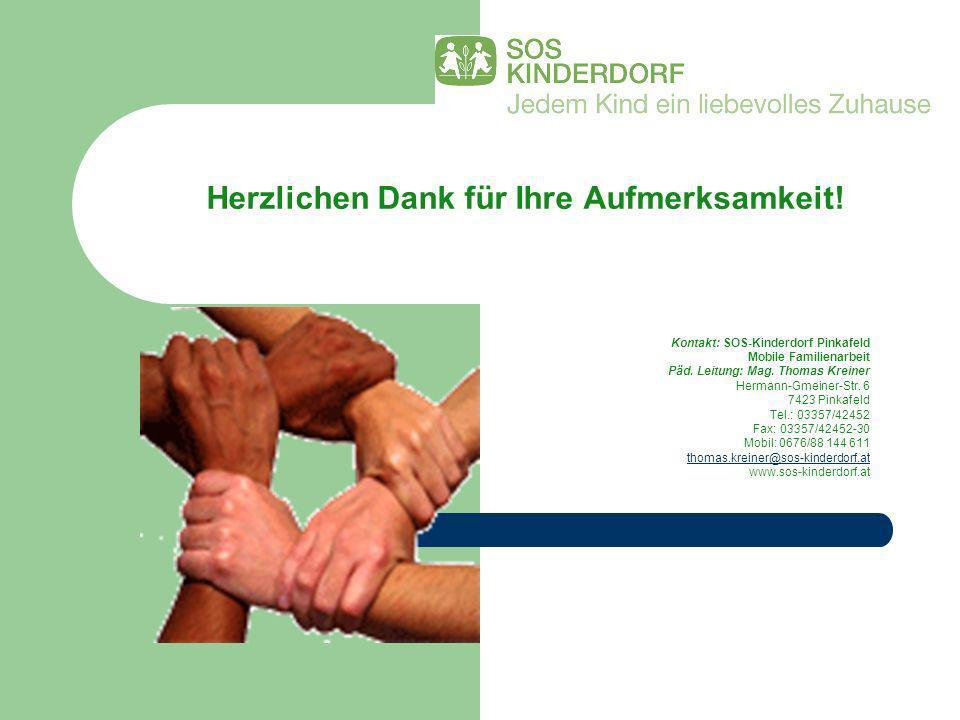 Herzlichen Dank für Ihre Aufmerksamkeit! Kontakt: SOS-Kinderdorf Pinkafeld Mobile Familienarbeit Päd. Leitung: Mag. Thomas Kreiner Hermann-Gmeiner-Str