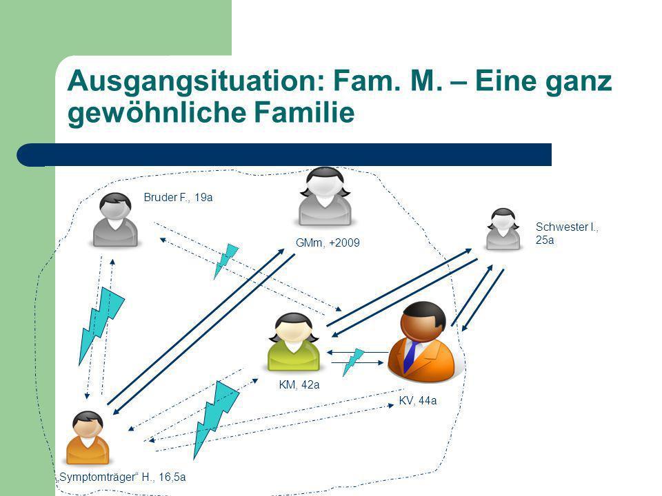 Ausgangsituation: Fam. M. – Eine ganz gewöhnliche Familie Schwester I., 25a Bruder F., 19a Symptomträger H., 16,5a KM, 42a KV, 44a GMm, +2009