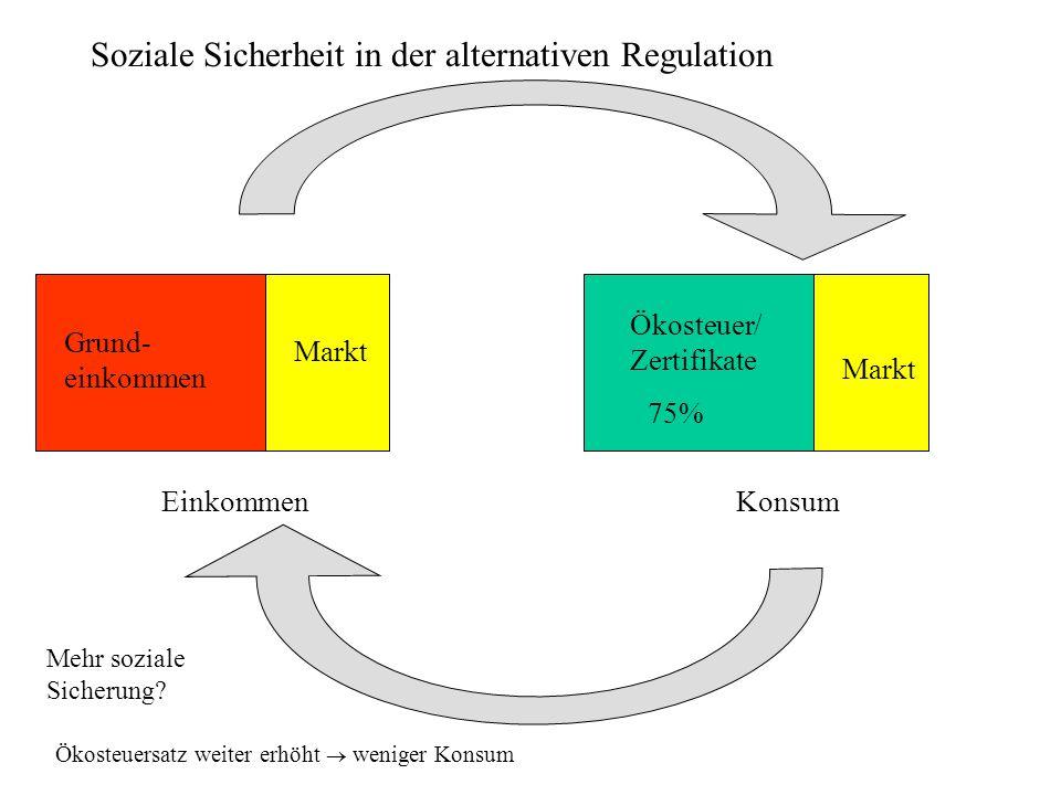 Soziale Sicherheit in der alternativen Regulation Grund- einkommen Konsum Ökosteuer/ Zertifikate Einkommen Markt 75% Ökosteuersatz weiter erhöht weniger Konsum Mehr soziale Sicherung?