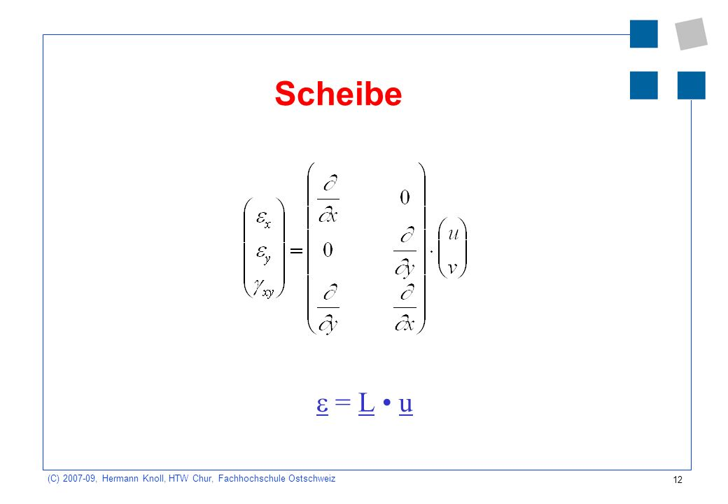 12 (C) 2007-09, Hermann Knoll, HTW Chur, Fachhochschule Ostschweiz Scheibe = L u
