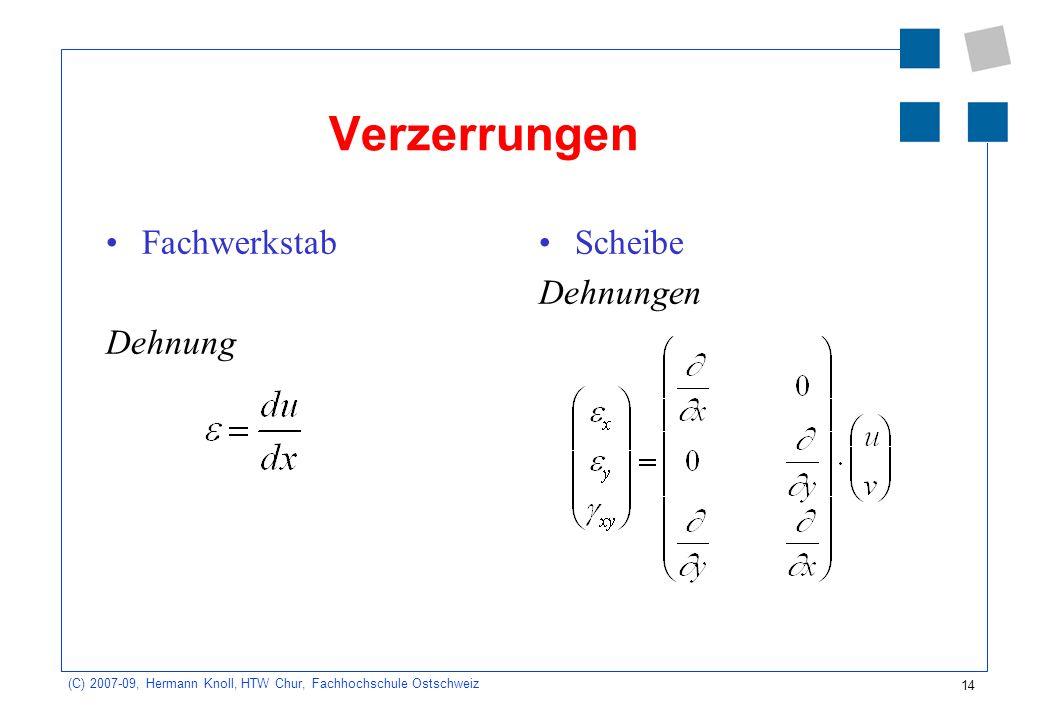 14 (C) 2007-09, Hermann Knoll, HTW Chur, Fachhochschule Ostschweiz Verzerrungen Fachwerkstab Dehnung Scheibe Dehnungen