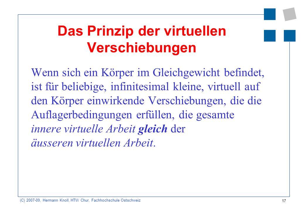 17 (C) 2007-09, Hermann Knoll, HTW Chur, Fachhochschule Ostschweiz Das Prinzip der virtuellen Verschiebungen Wenn sich ein Körper im Gleichgewicht bef