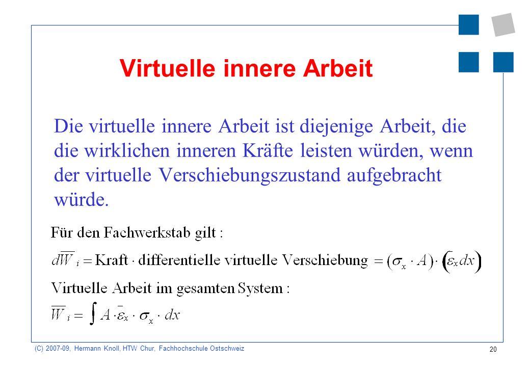 20 (C) 2007-09, Hermann Knoll, HTW Chur, Fachhochschule Ostschweiz Virtuelle innere Arbeit Die virtuelle innere Arbeit ist diejenige Arbeit, die die w