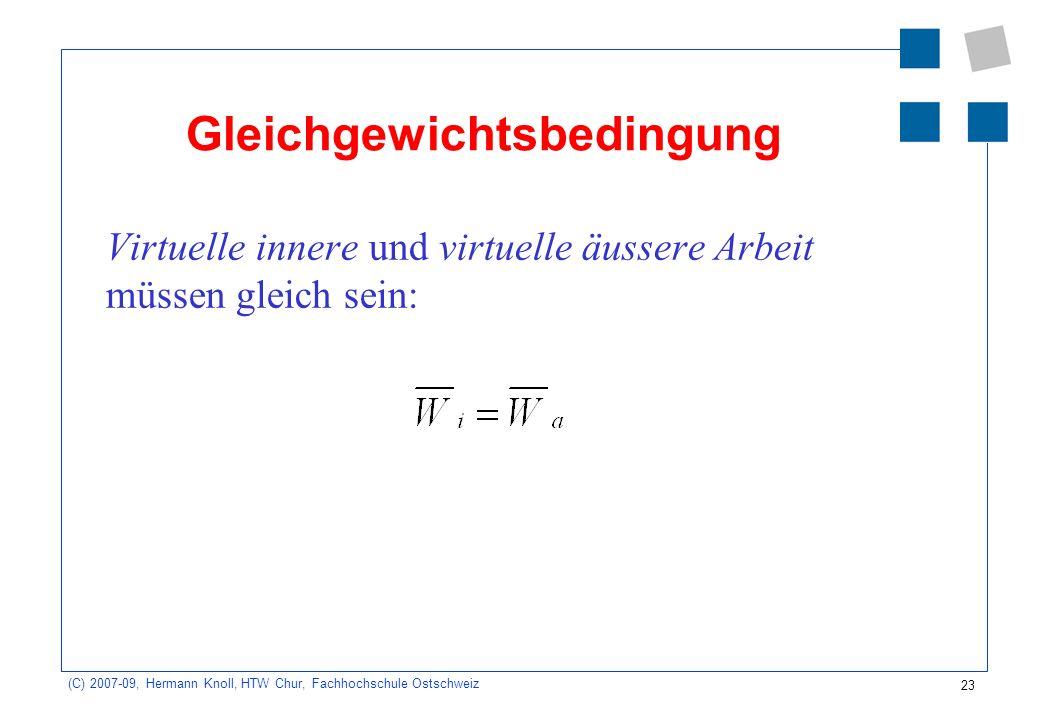 23 (C) 2007-09, Hermann Knoll, HTW Chur, Fachhochschule Ostschweiz Gleichgewichtsbedingung Virtuelle innere und virtuelle äussere Arbeit müssen gleich