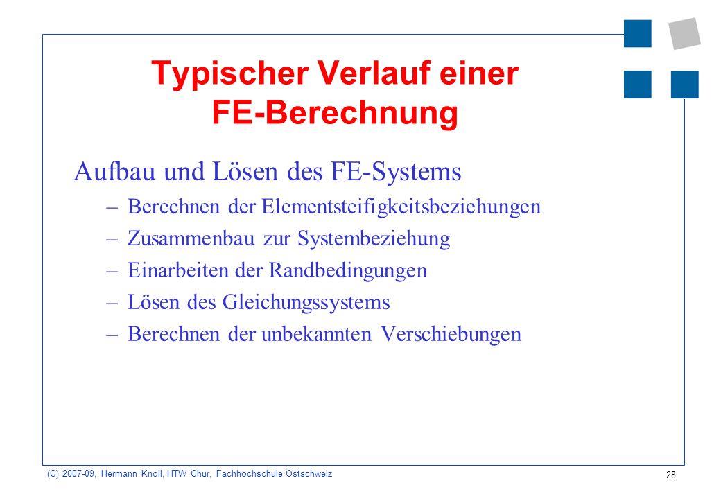 28 (C) 2007-09, Hermann Knoll, HTW Chur, Fachhochschule Ostschweiz Typischer Verlauf einer FE-Berechnung Aufbau und Lösen des FE-Systems –Berechnen de