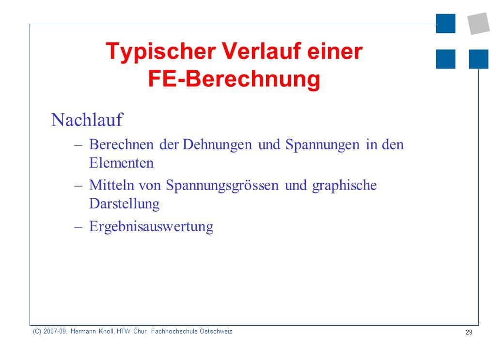 29 (C) 2007-09, Hermann Knoll, HTW Chur, Fachhochschule Ostschweiz Typischer Verlauf einer FE-Berechnung Nachlauf –Berechnen der Dehnungen und Spannun