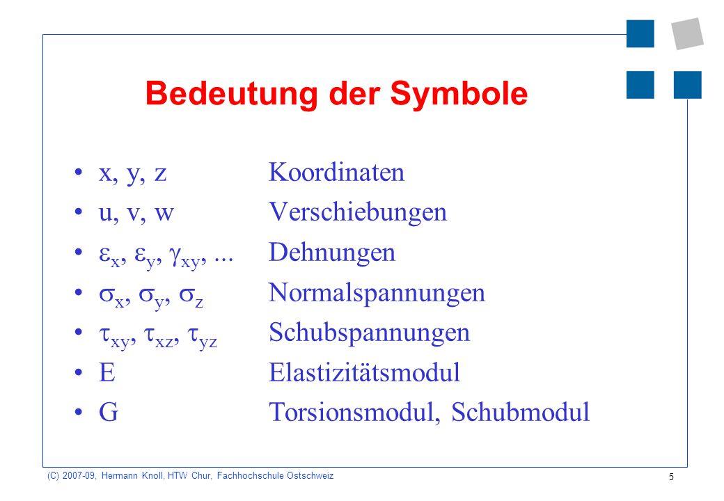 5 (C) 2007-09, Hermann Knoll, HTW Chur, Fachhochschule Ostschweiz Bedeutung der Symbole x, y, zKoordinaten u, v, wVerschiebungen x, y, xy,...Dehnungen