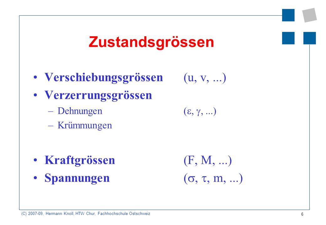 6 (C) 2007-09, Hermann Knoll, HTW Chur, Fachhochschule Ostschweiz Zustandsgrössen Verschiebungsgrössen(u, v,...) Verzerrungsgrössen –Dehnungen(,,...)