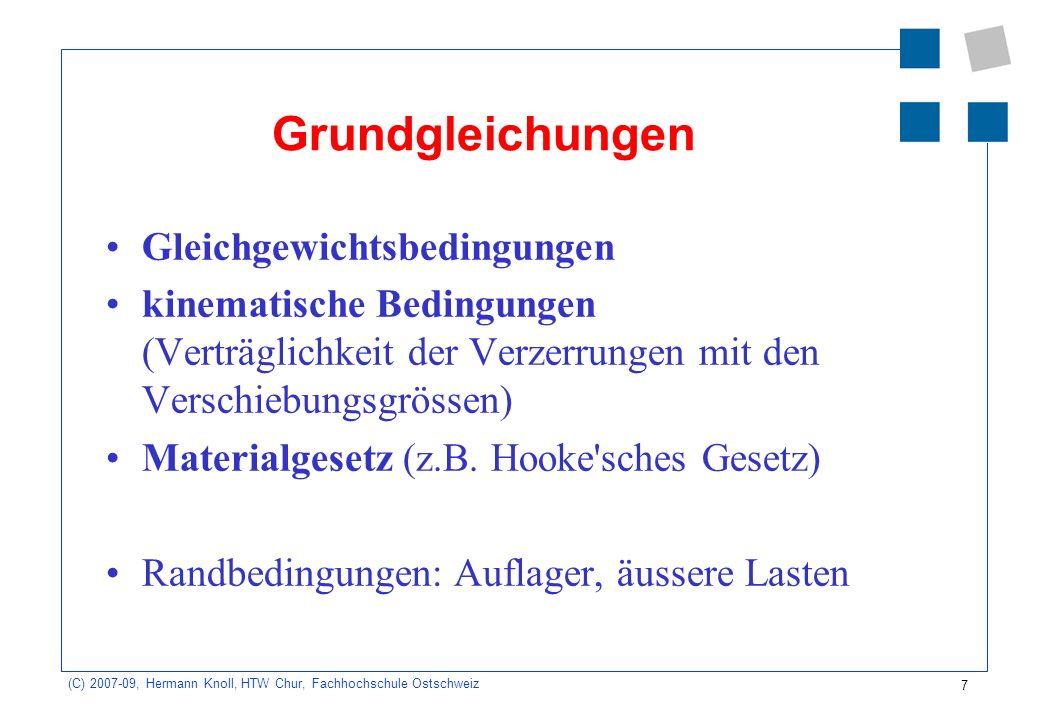 7 (C) 2007-09, Hermann Knoll, HTW Chur, Fachhochschule Ostschweiz Grundgleichungen Gleichgewichtsbedingungen kinematische Bedingungen (Verträglichkeit
