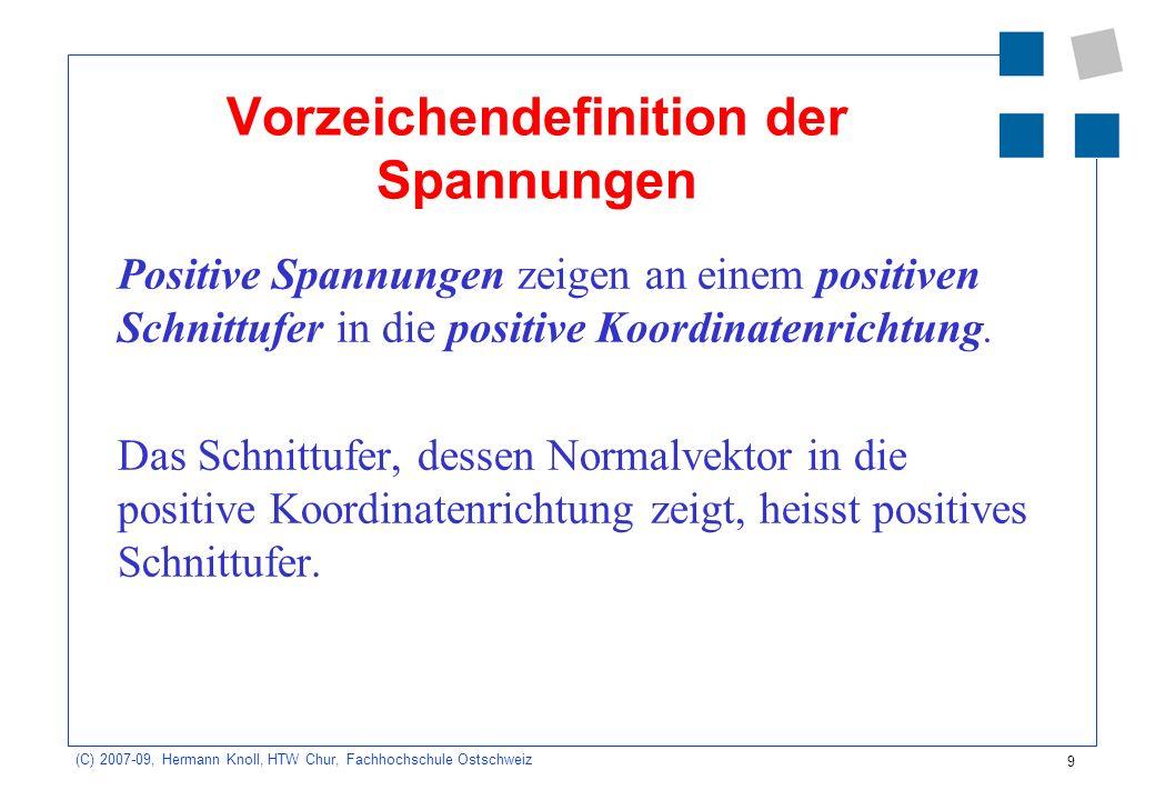9 (C) 2007-09, Hermann Knoll, HTW Chur, Fachhochschule Ostschweiz Vorzeichendefinition der Spannungen Positive Spannungen zeigen an einem positiven Sc