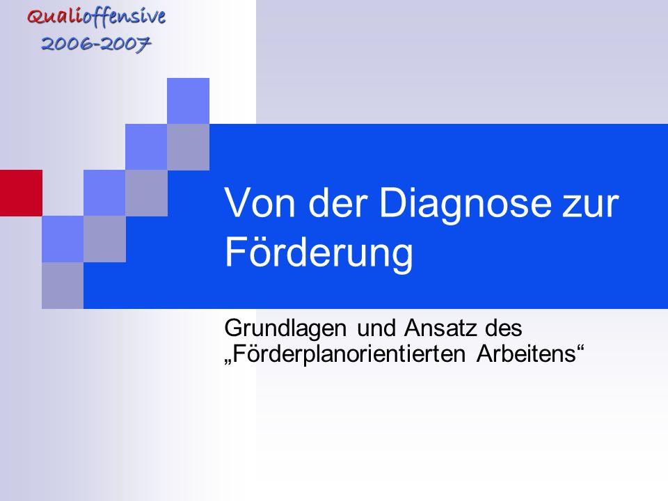 Qualioffensive 2006-2007 Von der Diagnose zur Förderung Grundlagen und Ansatz des Förderplanorientierten Arbeitens