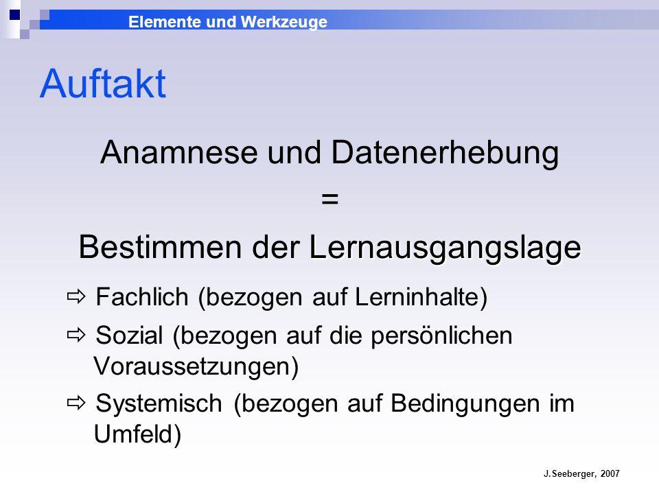 Elemente und Werkzeuge J.Seeberger, 2007 Auftakt Anamnese und Datenerhebung = Bestimmen der L LL Lernausgangslage Fachlich (bezogen auf Lerninhalte) S