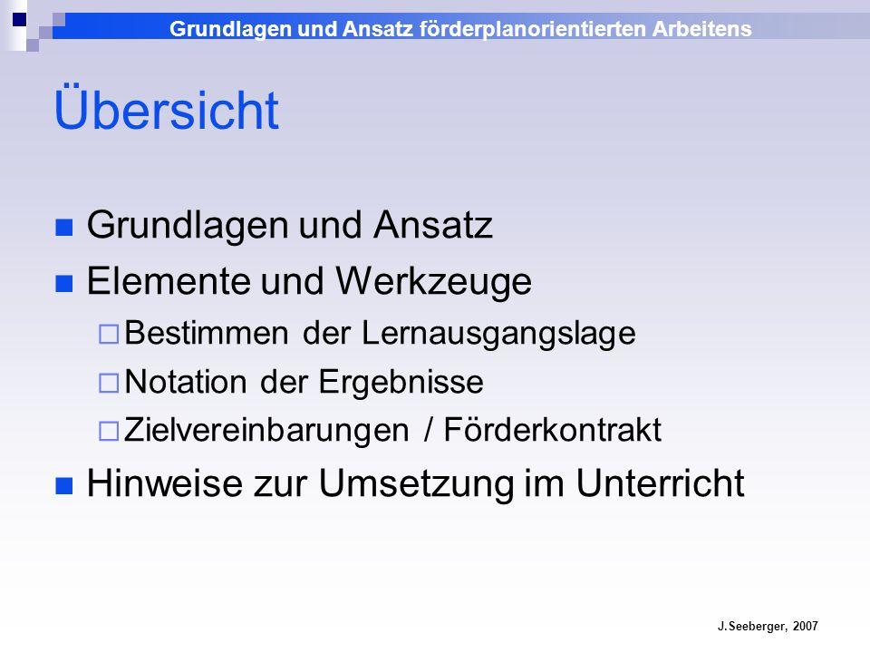 Grundlagen und Ansatz förderplanorientierten Arbeitens J.Seeberger, 2007 Übersicht Grundlagen und Ansatz Elemente und Werkzeuge Bestimmen der Lernausg