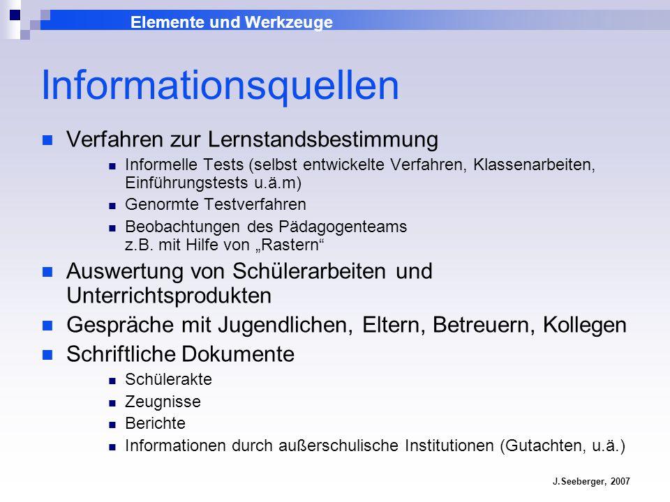 Elemente und Werkzeuge J.Seeberger, 2007 Informationsquellen Verfahren zur Lernstandsbestimmung Informelle Tests (selbst entwickelte Verfahren, Klasse