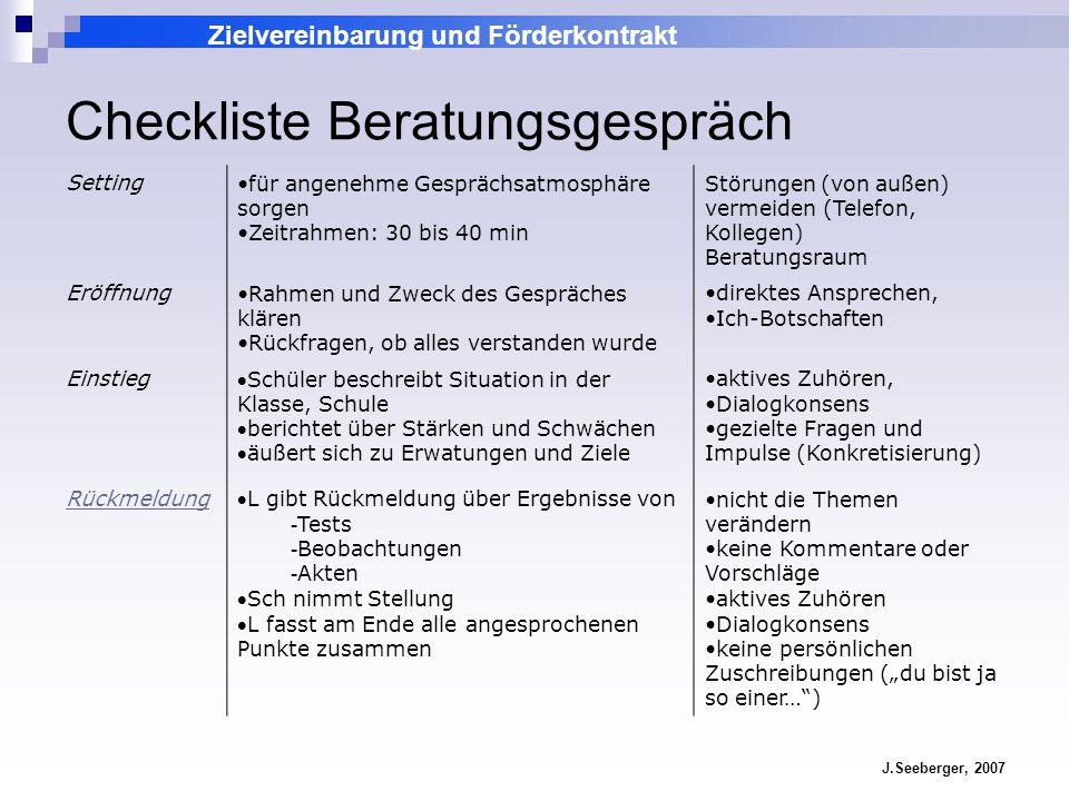 Zielvereinbarung und Förderkontrakt J.Seeberger, 2007 Checkliste Beratungsgespräch Settingfür angenehme Gesprächsatmosphäre sorgen Zeitrahmen: 30 bis