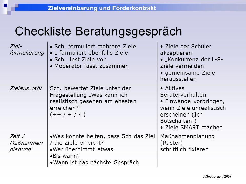 Zielvereinbarung und Förderkontrakt J.Seeberger, 2007 Checkliste Beratungsgespräch Ziel- formulierung Sch. formuliert mehrere Ziele L formuliert ebenf