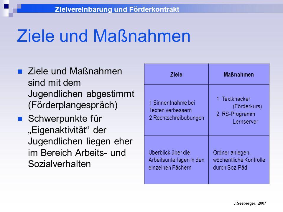 Zielvereinbarung und Förderkontrakt J.Seeberger, 2007 Ziele und Maßnahmen Ziele und Maßnahmen sind mit dem Jugendlichen abgestimmt (Förderplangespräch