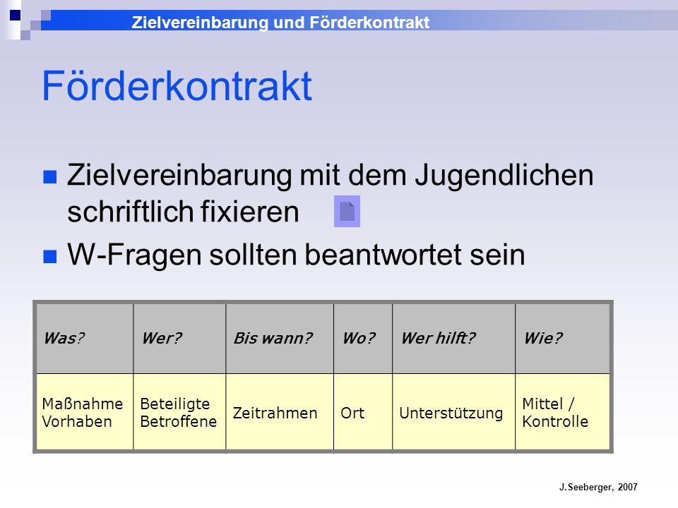 Zielvereinbarung und Förderkontrakt J.Seeberger, 2007 Förderkontrakt Zielvereinbarung mit dem Jugendlichen schriftlich fixieren W-Fragen sollten beant