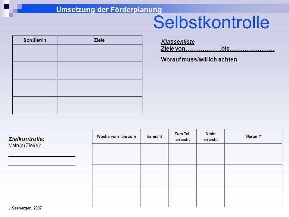 Umsetzung der Förderplanung J.Seeberger, 2007 Klassenliste Ziele von……………….bis…………………… Worauf muss/will ich achten Schüler/inZiele Zielkontrolle: Mein