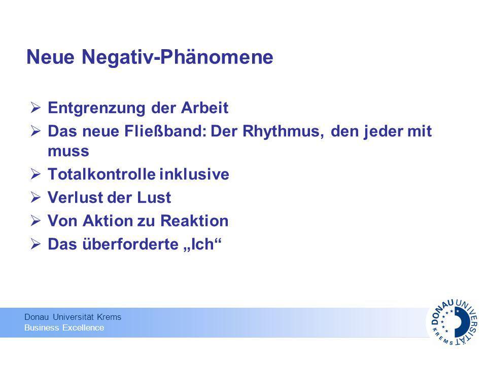 Donau Universität Krems Business Excellence Neue Negativ-Phänomene Entgrenzung der Arbeit Das neue Fließband: Der Rhythmus, den jeder mit muss Totalko