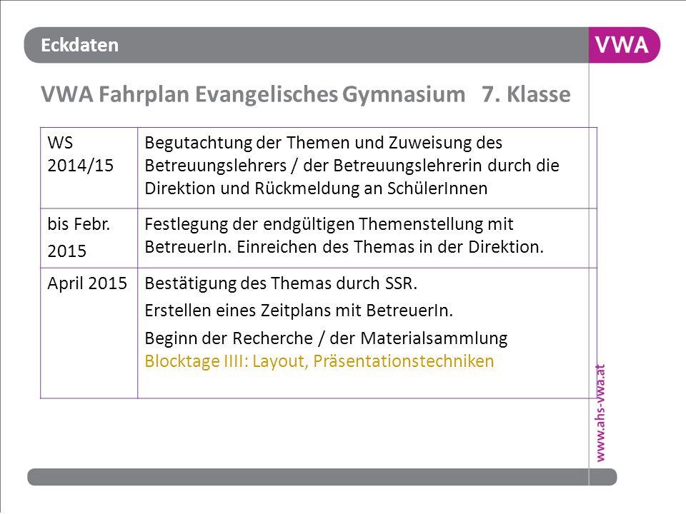 Eckdaten VWA Fahrplan Evangelisches Gymnasium 7. Klasse WS 2014/15 Begutachtung der Themen und Zuweisung des Betreuungslehrers / der Betreuungslehreri
