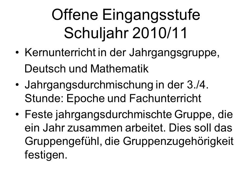 Offene Eingangsstufe Schuljahr 2010/11 Kernunterricht in der Jahrgangsgruppe, Deutsch und Mathematik Jahrgangsdurchmischung in der 3./4. Stunde: Epoch