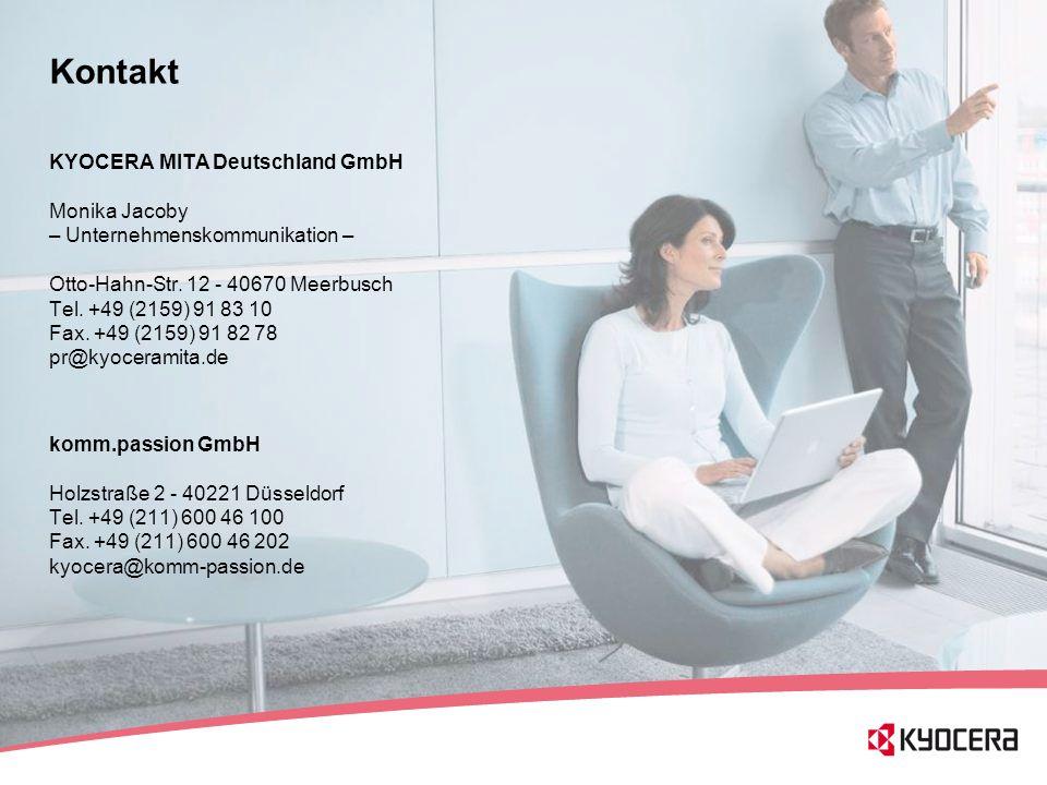56 Kontakt KYOCERA MITA Deutschland GmbH Monika Jacoby – Unternehmenskommunikation – Otto-Hahn-Str. 12 - 40670 Meerbusch Tel. +49 (2159) 91 83 10 Fax.