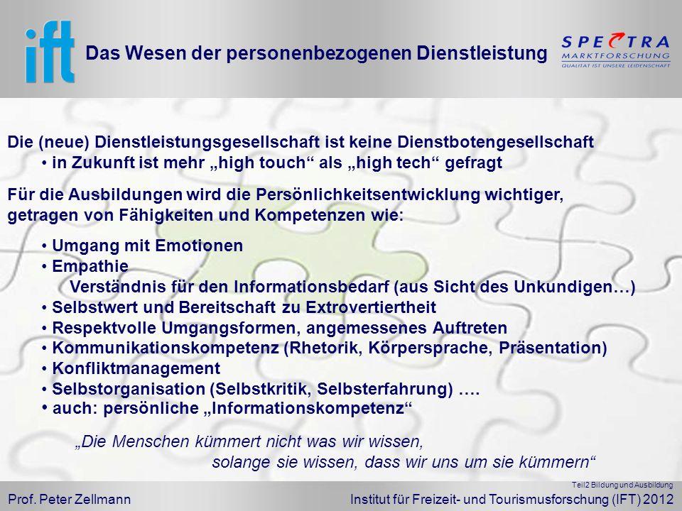 Prof. Peter Zellmann Institut für Freizeit- und Tourismusforschung (IFT) 2012 Das Wesen der personenbezogenen Dienstleistung Für die Ausbildungen wird