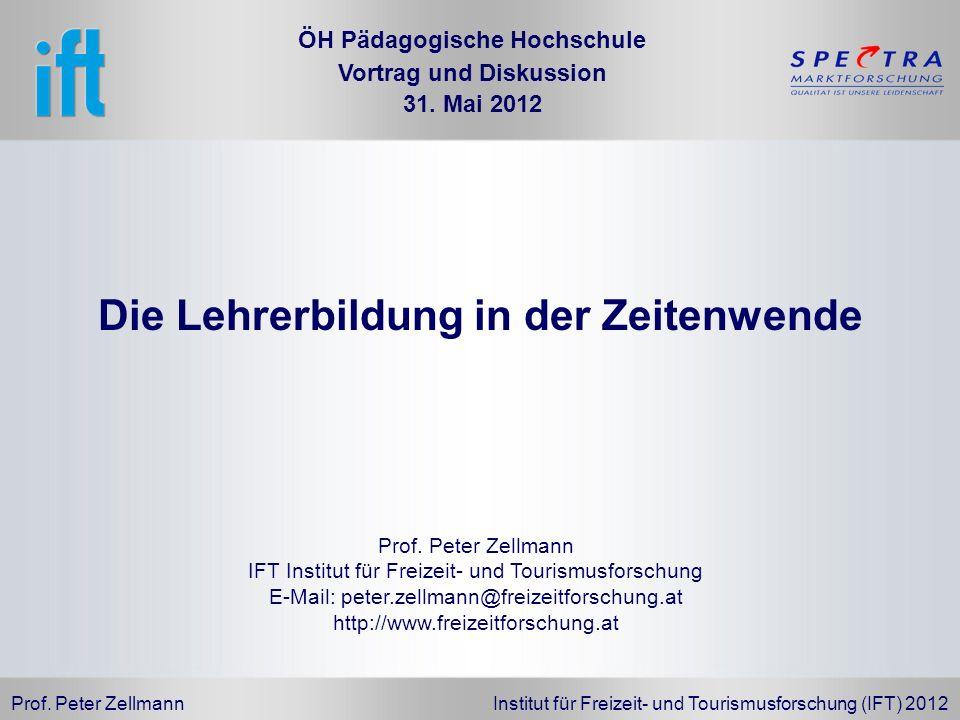 Prof. Peter Zellmann Institut für Freizeit- und Tourismusforschung (IFT) 2012 Prof. Peter Zellmann IFT Institut für Freizeit- und Tourismusforschung E