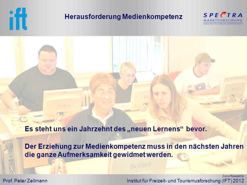 Prof. Peter Zellmann Institut für Freizeit- und Tourismusforschung (IFT) 2012 Es steht uns ein Jahrzehnt des neuen Lernens bevor. Der Erziehung zur Me