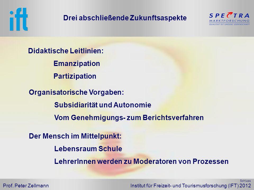 Prof. Peter Zellmann Institut für Freizeit- und Tourismusforschung (IFT) 2012 Didaktische Leitlinien: Emanzipation Partizipation Drei abschließende Zu