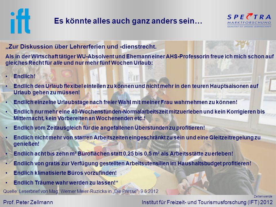 Prof. Peter Zellmann Institut für Freizeit- und Tourismusforschung (IFT) 2012 Endlich! Endlich den Urlaub flexibel einteilen zu können und nicht mehr