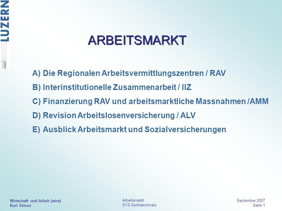 Wirtschaft und Arbeit (wira) Kurt Simon Arbeitsmarkt SVS Zentralschweiz September 2007 Seite 1 ARBEITSMARKT Die Regionalen Arbeitsvermittlungszentren