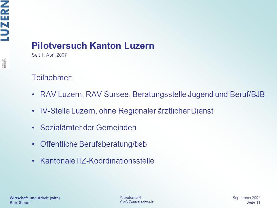 Wirtschaft und Arbeit (wira) Kurt Simon Arbeitsmarkt SVS Zentralschweiz September 2007 Seite 11 Pilotversuch Kanton Luzern Seit 1. April 2007 Teilnehm