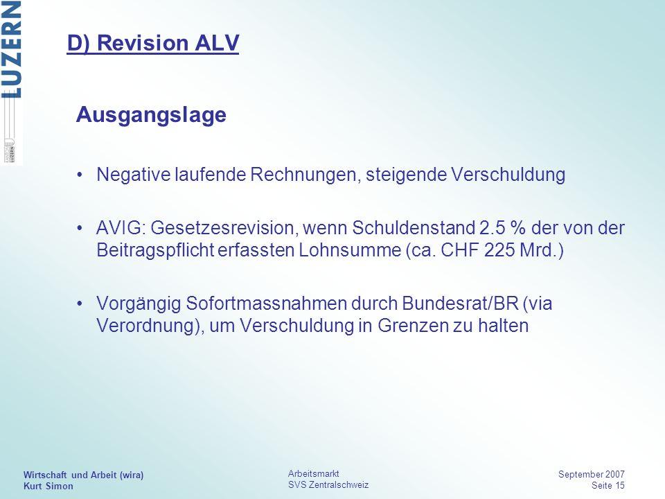 Wirtschaft und Arbeit (wira) Kurt Simon Arbeitsmarkt SVS Zentralschweiz September 2007 Seite 15 D) Revision ALV Ausgangslage Negative laufende Rechnun