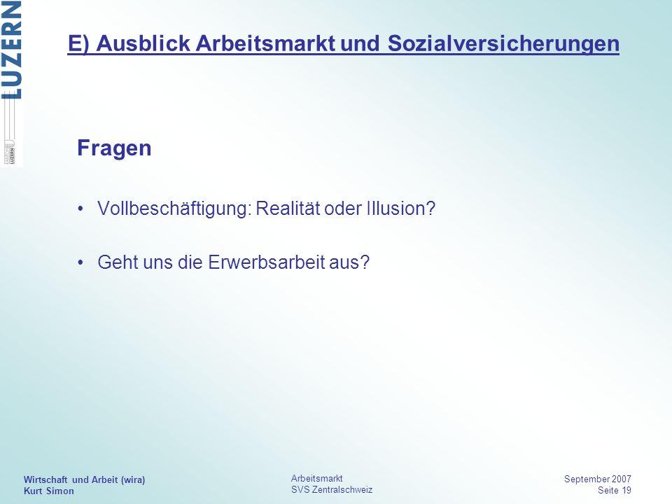 Wirtschaft und Arbeit (wira) Kurt Simon Arbeitsmarkt SVS Zentralschweiz September 2007 Seite 19 E) Ausblick Arbeitsmarkt und Sozialversicherungen Frag