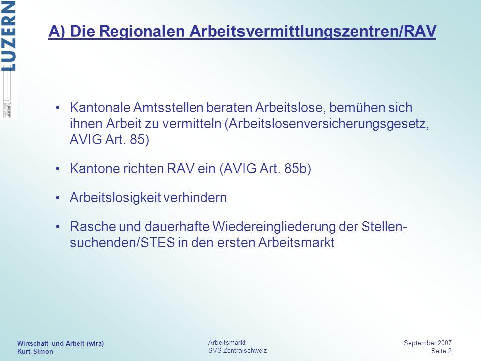 Wirtschaft und Arbeit (wira) Kurt Simon Arbeitsmarkt SVS Zentralschweiz September 2007 Seite 2 A) Die Regionalen Arbeitsvermittlungszentren/RAV Kanton