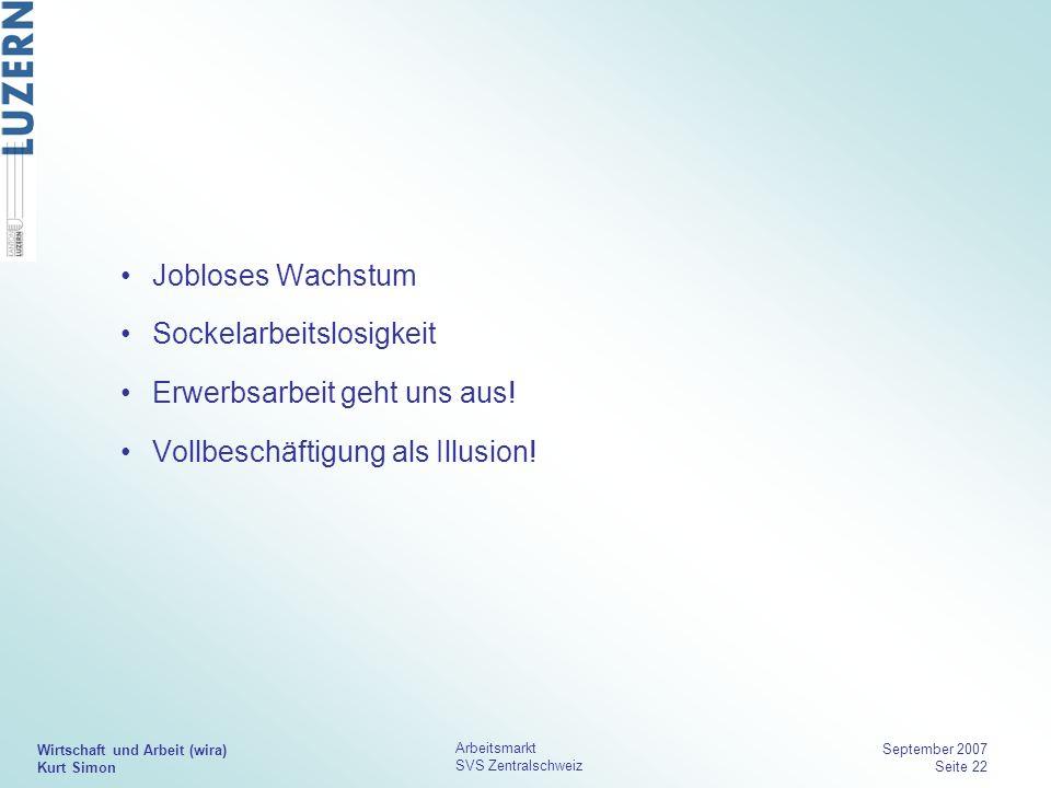 Wirtschaft und Arbeit (wira) Kurt Simon Arbeitsmarkt SVS Zentralschweiz September 2007 Seite 22 Jobloses Wachstum Sockelarbeitslosigkeit Erwerbsarbeit