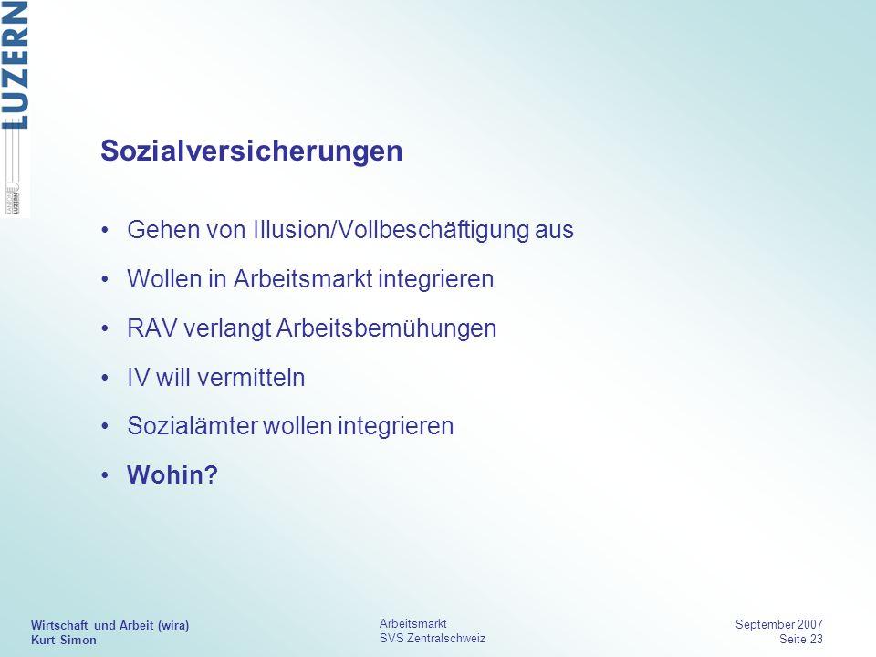 Wirtschaft und Arbeit (wira) Kurt Simon Arbeitsmarkt SVS Zentralschweiz September 2007 Seite 23 Sozialversicherungen Gehen von Illusion/Vollbeschäftig