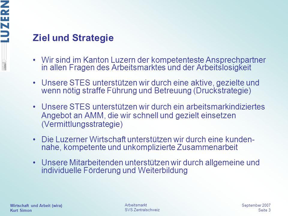Wirtschaft und Arbeit (wira) Kurt Simon Arbeitsmarkt SVS Zentralschweiz September 2007 Seite 3 Ziel und Strategie Wir sind im Kanton Luzern der kompet