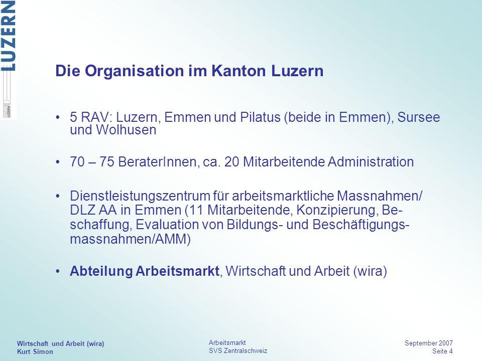 Wirtschaft und Arbeit (wira) Kurt Simon Arbeitsmarkt SVS Zentralschweiz September 2007 Seite 4 Die Organisation im Kanton Luzern 5 RAV: Luzern, Emmen