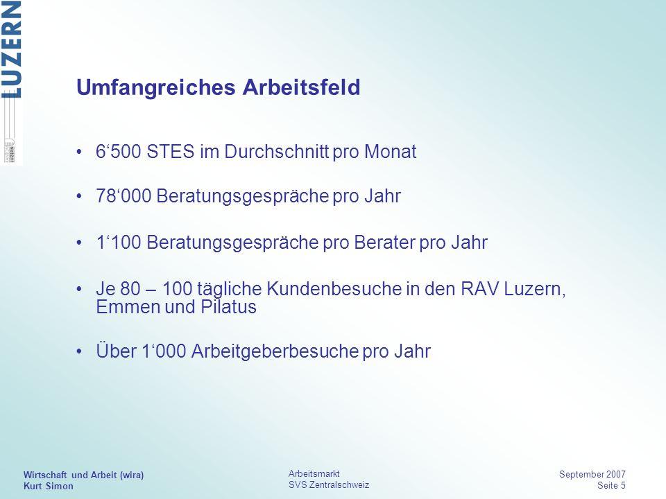 Wirtschaft und Arbeit (wira) Kurt Simon Arbeitsmarkt SVS Zentralschweiz September 2007 Seite 5 Umfangreiches Arbeitsfeld 6500 STES im Durchschnitt pro