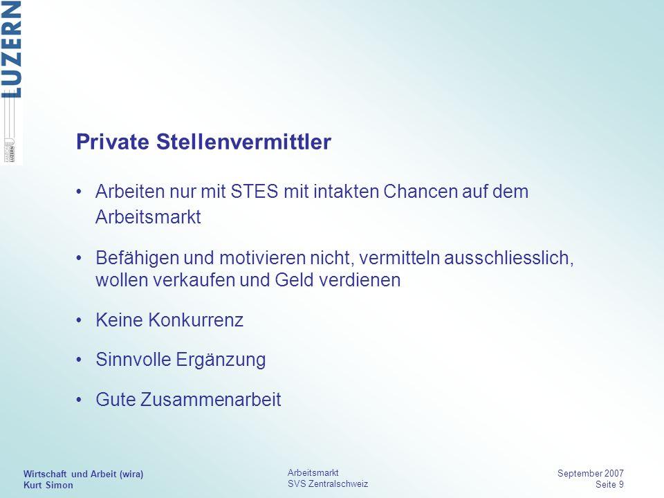 Wirtschaft und Arbeit (wira) Kurt Simon Arbeitsmarkt SVS Zentralschweiz September 2007 Seite 9 Private Stellenvermittler Arbeiten nur mit STES mit int
